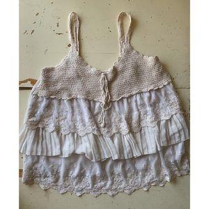 Lane Bryant :: crochet & lace ruffled boho tank
